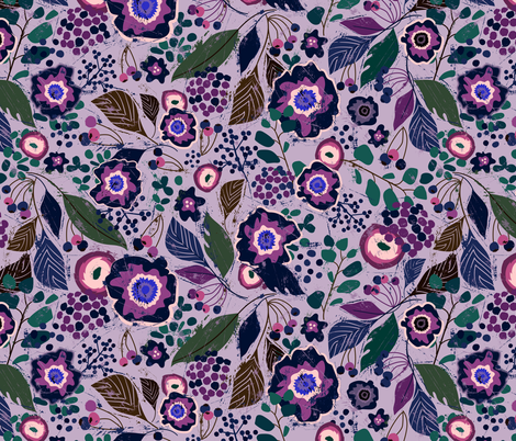 Botanical Wood Cut-Grape fabric by sarah_treu on Spoonflower - custom fabric