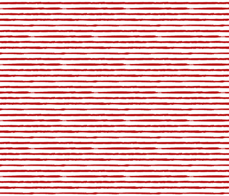 Small Painted Red Stripes on White fabric by sweeterthanhoney on Spoonflower - custom fabric