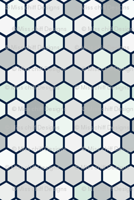 Navy Blue Jumbo Geometric Hexie Hexagon Retro Tile  Gray Grey White Spots Dots Mint Green _ Miss Chiff Designs