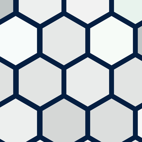 Navy Blue Jumbo Geometric Hexie Hexagon Retro Tile  Gray Grey White Spots Dots Mint Green _ Miss Chiff Designs fabric by misschiffdesigns on Spoonflower - custom fabric