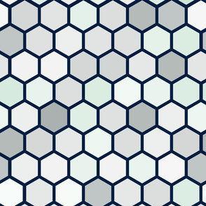 18-07C Hexagon Navy Blue Gray White Dots Mint Green