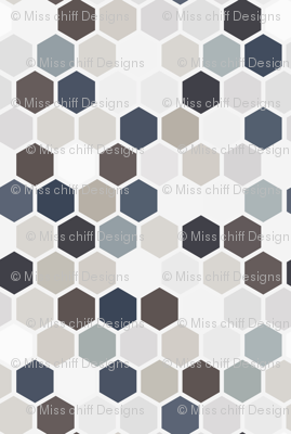 18-07B Jumbo Geometric Hexie Hexagon Tile  Gray Grey Taupe Brown Blue Tan Beige White Spots Dots _ Miss Chiff Designs