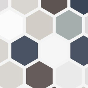 Jumbo Geometric Hexie Hexagon Retro Tile  Gray Grey Taupe Brown Blue Tan Beige White Spots Dots _ Miss Chiff Designs