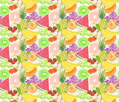 Fruit Salad Small fabric by little_lizzie_design on Spoonflower - custom fabric