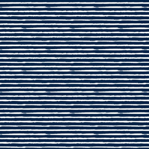 Small Painted White Stripes on Navy Blue
