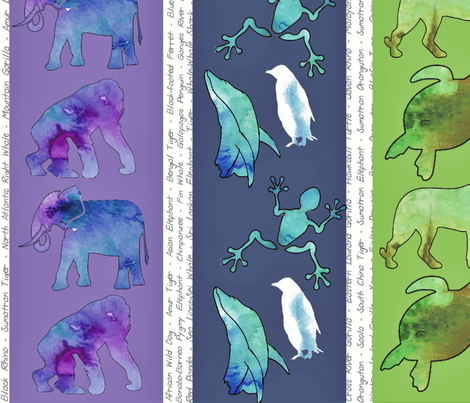 Endangered Watercolor fabric by lindsayj on Spoonflower - custom fabric
