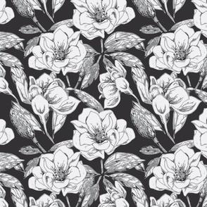 Mixed media Magnolia-greyscale