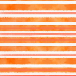Orange & Pink & White Watercolor Stripe