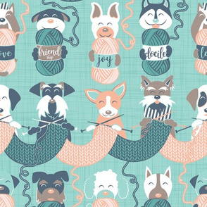 Knitting dog feelings IV // normal scale // teal and flesh