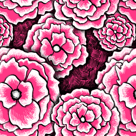 pink floral fabric by beesocks on Spoonflower - custom fabric