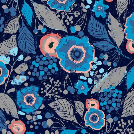 Botanical-UltramarineAndTangerine fabric by sarah_treu on Spoonflower - custom fabric