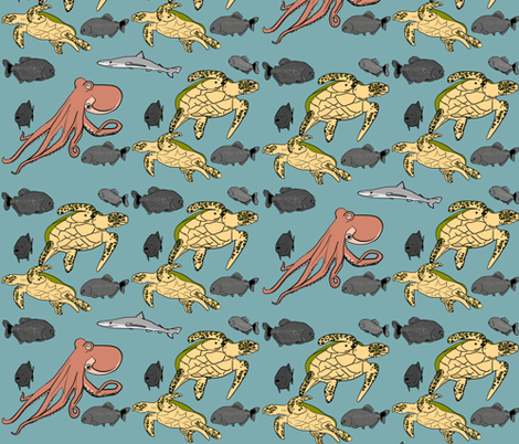 Shark in the water fabric by driessa on Spoonflower - custom fabric
