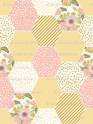 hexagon cheater quilt pale yellow mustard yellow flowers florals cute flowers