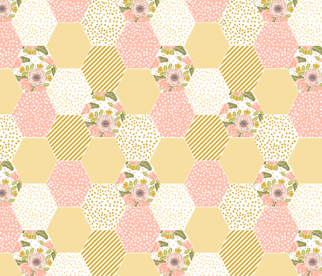 hexagon cheater quilt pale yellow mustard yellow flowers florals cute flowers  fabric by charlottewinter on Spoonflower - custom fabric