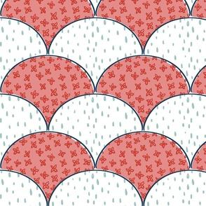 floral rain scallops