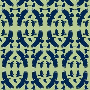 Circle of Crows (Blue on Green)