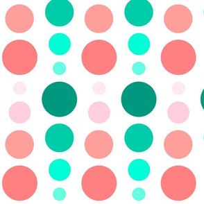 Coral Pink & Emerald Mint Green Ombre Spots