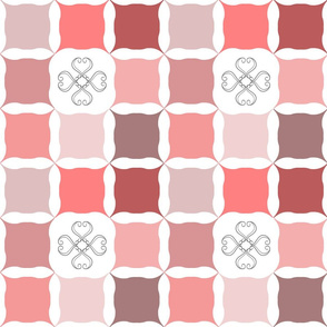 Cs7 Blush Coral Pink Grid with Scroll Flower