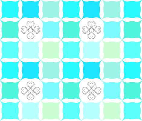Scroll Flower Grid Green fabric by cjohnson_art&design on Spoonflower - custom fabric