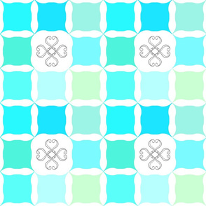 Teal Blue & Mint Green Grid with Scroll Flower
