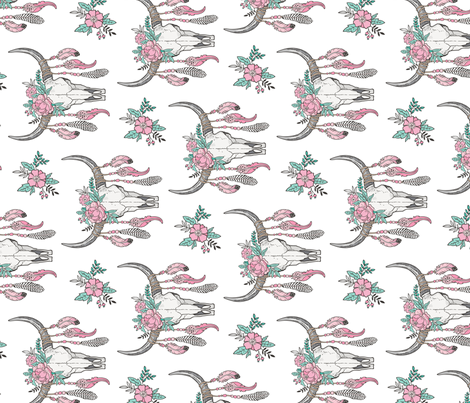 Boho Longhorn Cow Skull with Feathers and Flowers Pink Rotated fabric by caja_design on Spoonflower - custom fabric
