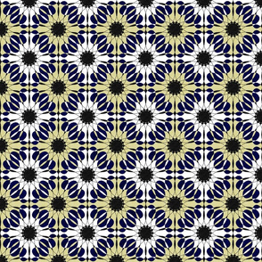 abstract geometric flowers in blue