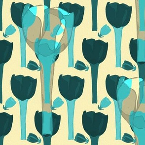 abstract blue tulips