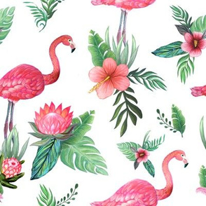 Watercolor flamingo dream garden jungle
