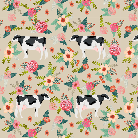 holstein cattle cow farm animal floral tan fabric by petfriendly on Spoonflower - custom fabric