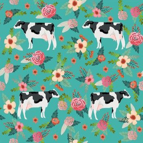 holstein cattle cow farm animal floral teal