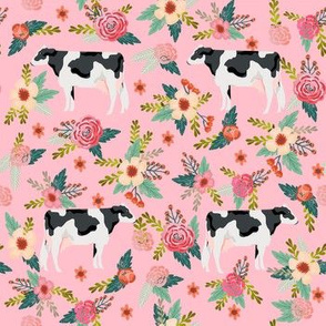 holstein cattle cow farm animal floral pink