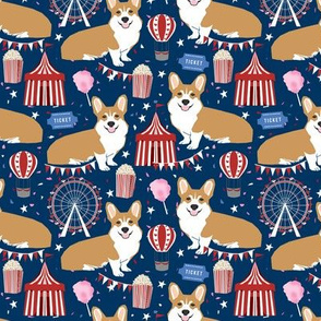 corgi carnival cute corgis dog breed fabric blue