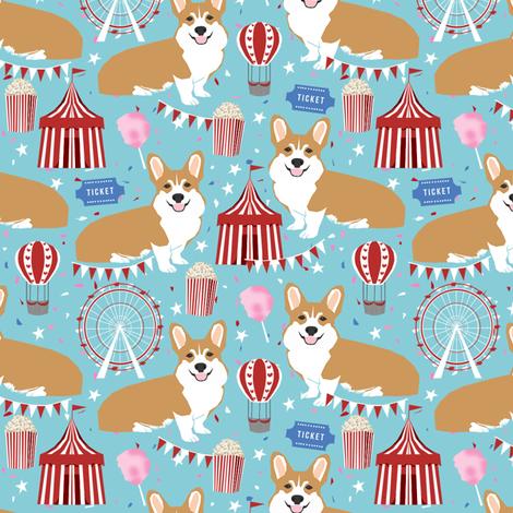 corgi carnival cute corgis dog breed fabric light blue fabric by petfriendly on Spoonflower - custom fabric