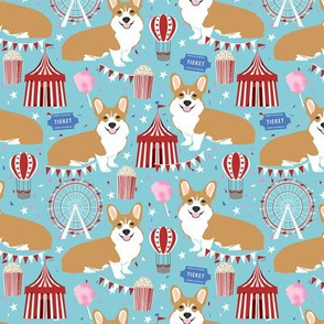 corgi carnival cute corgis dog breed fabric light blue
