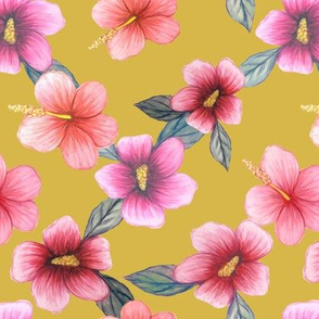 Yellow floral // watercolor hibiscus flowers on mustard yellow
