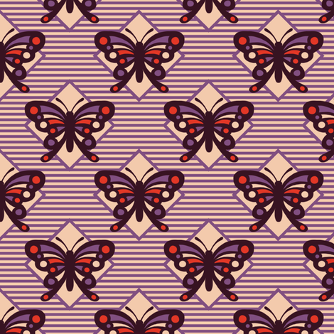 Vintage Matchbox Butterfly - Violet Stripe fabric by siya on Spoonflower - custom fabric