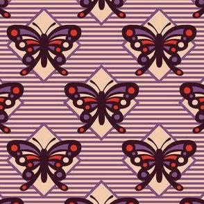 Vintage Matchbox Butterfly - Violet Stripe
