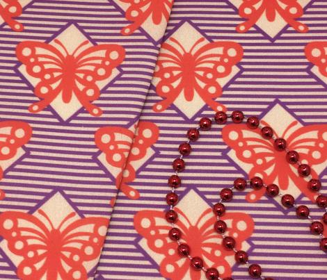 Vintage Matchbox Butterfly - Red on Violet