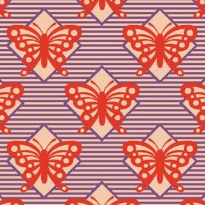 Vintage Matchbox Butterfly - Red on Violet