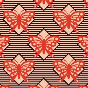 Vintage Matchbox Butterfly - Red on Dark