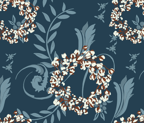 Cotton Wreath With Blue Jacquard Pattern