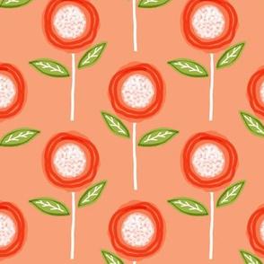 Simple Orange, Coral & White Floral