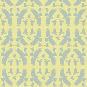 Circle of Crows (Gray on Yellow)