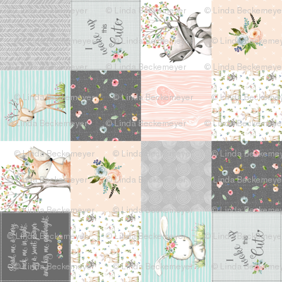 Woodland Friends Nursery Patchwork Quilt (rotated) - Wholecloth Deer Fox Raccoon Bunny (Grey Blush) GingerLous