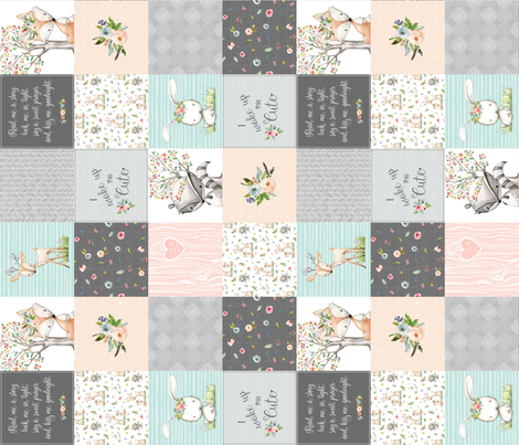 Woodland Friends Nursery Patchwork Quilt (rotated) - Wholecloth Deer Fox Raccoon Bunny (Grey Blush) GingerLous fabric by gingerlous on Spoonflower - custom fabric