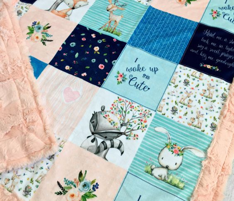 Woodland Friends Nursery Patchwork Quilt -  Wholecloth Deer Fox Raccoon Bunny (Navy Pink) GingerLous