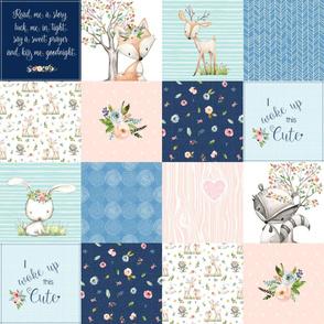 Woodland Friends Nursery Patchwork Quilt -  Wholecloth Deer Fox Raccoon Bunny (Navy Pink) GingerLous