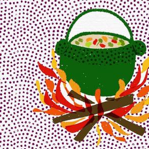 stew on fire tea towel