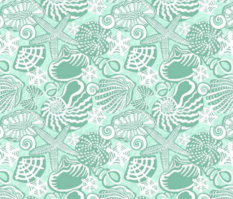 SEASHELLS mint green fabric by nadinewestcott on Spoonflower - custom fabric