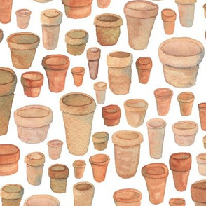 Watercolor Flower Pots
